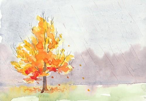 Autumn Rain Watercolor