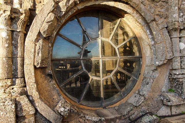 Oculo de la catedral de Santiago al atardecer