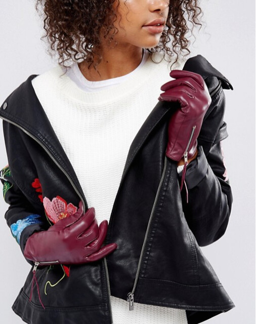 ASOS перчатки бордовые 3