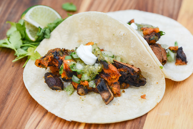 Sweet Potato, Mushroom, and Roasted Poblano Tacos