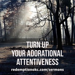 Turn up your adorational attentiveness. #sermonnotes We need to lift our eyes to worship. We need to be on the constant lookout for ways we can adore God; to look for His beauty in places we haven't seen it before. To watch how His character is evident ev