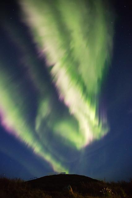 Aggressive aurora at Glymur, Iceland