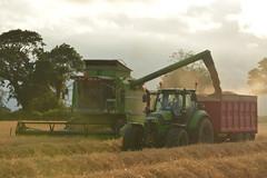 Deutz Fahr Topliner 4075 HTS Combine Harvester unloading Winter Barley to a NC Trailer drawn by a Deutz Fahr Agrotron 6190 TTV Tractor