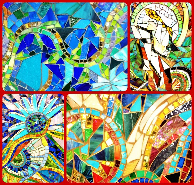 FOUR COLORFUL MOSAICS TURNED INTO COLLAGE