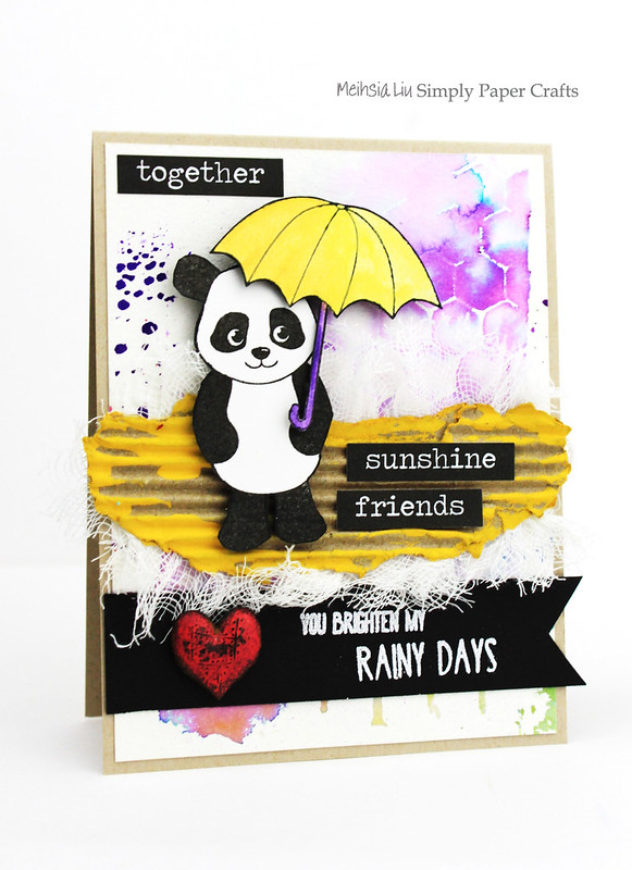 Meihsia Liu Simply Paper Crafts Mixed Media Card Panda Simon Says Stamp Monday Challenge 2