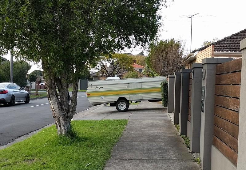 Caravan blocking footpath