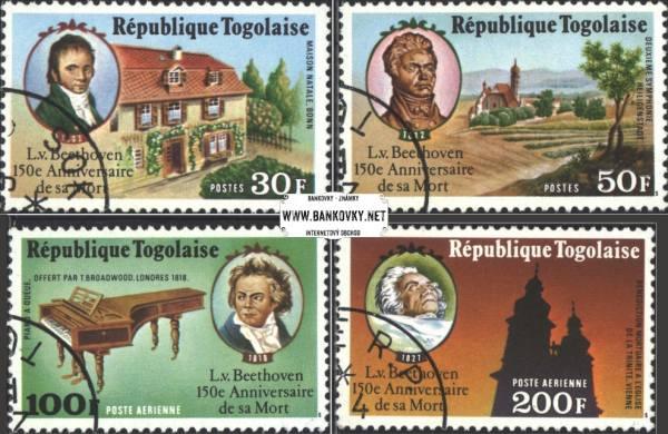 Známky Togo 1977 Smrť Beethovena, razítkovaná séria