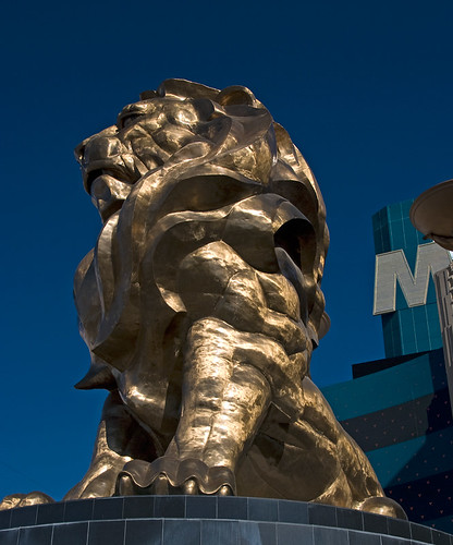 The MGM Lion, a golden sculpture on MGM building in Las Vegas, USA