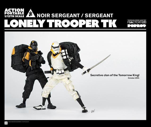 神秘部隊參上!! threeA  Action Portable 系列【Lonely Trooper TK 士官 白色/黑色款】1/12 比例人偶作品