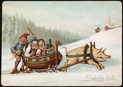 Humoristisk julemotiv tegnet av Wilhelm Larsen