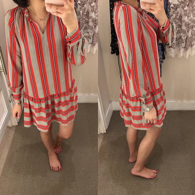 LOFT Spiced Stripe Flounce Shirtdress, size XXSP