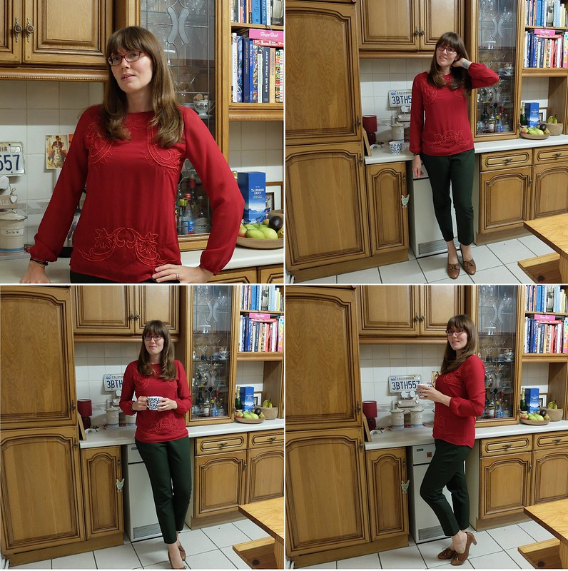 red blouse green trousers montage @porcelinasworld