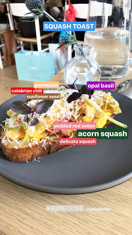 Instastory-Squash Toast, acorn and delicata squash, pickled red onion, sunflower seed, parmesan, Opal basil, Calabrian chili ($9)