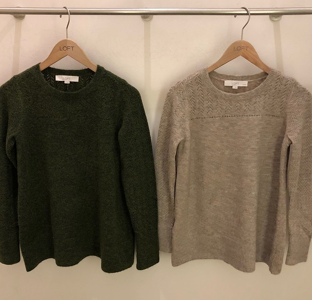 LOFT Relaxed Pointelle Sweater Size Comparison