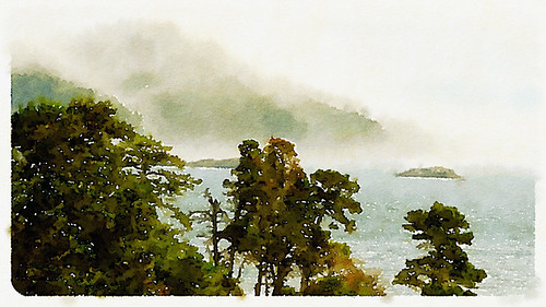 Sooke scene with fog on the water in Waterlogue