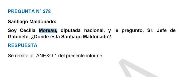 Cecilia Moreau a Marcos Peña por Santiago Maldonado