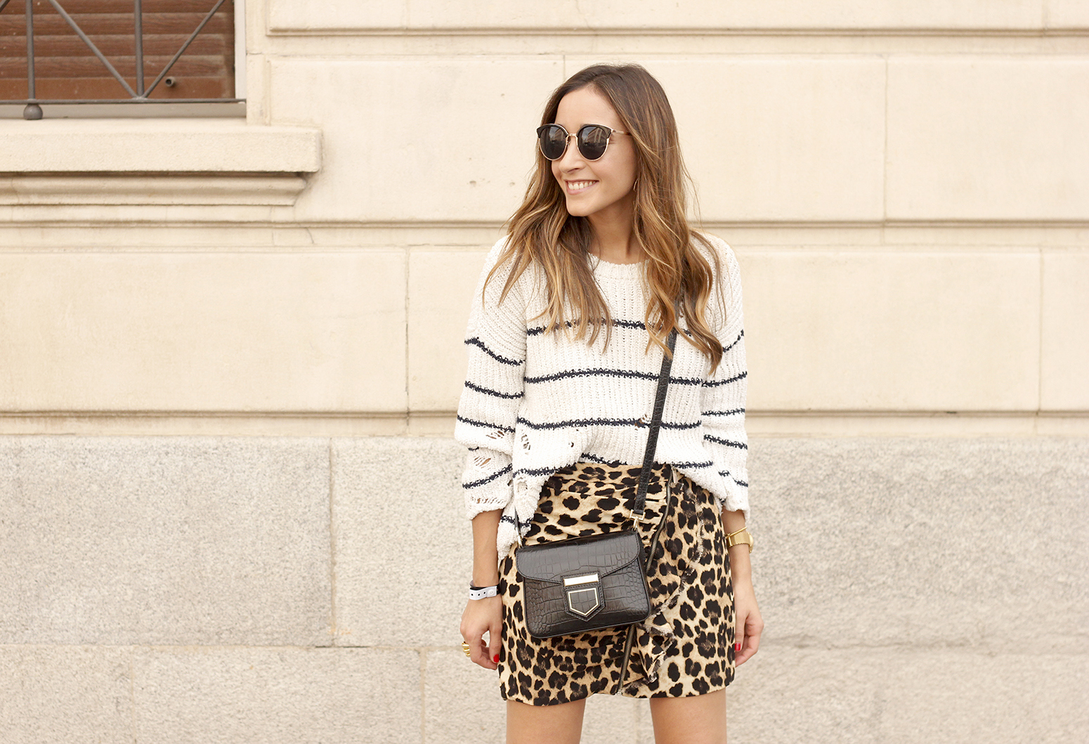 leopard printed skirt striped sweater givenchy bag outfit fashion style trend09