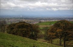 View from Tegg's Nose over Macclesfield, Jodrell Bank radio telescope in the middle distance