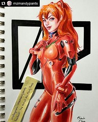 #Repost @mzmandypants with copics from @otakufuel www.otakufuel.com ・・・ Done with this Asuka piece based on, and inspired by @js_cosplay and her awesome cosplay of #asukalangley Thank goodness for @otakufuel and their awesome supply of copics and refills!