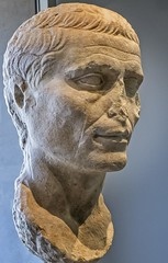 Portrait of a Roman man possibly Julius Caesar produced during the Augustan period (27 BCE - 14 CE) Marble