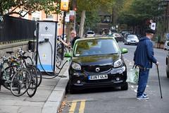 DSC_8115 Shoreditch London Smart Forfour Electric Drive Car EU67ULN at a Public Re-charging Point Calvert Avenue E2