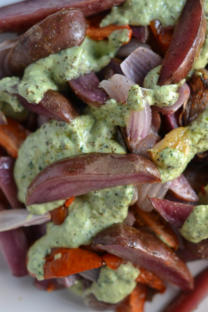 Roasted Vegetables with Parsley Cream Sauce | Things I Made Today