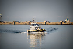 Beautiful photo of the pilot boat in the morning port