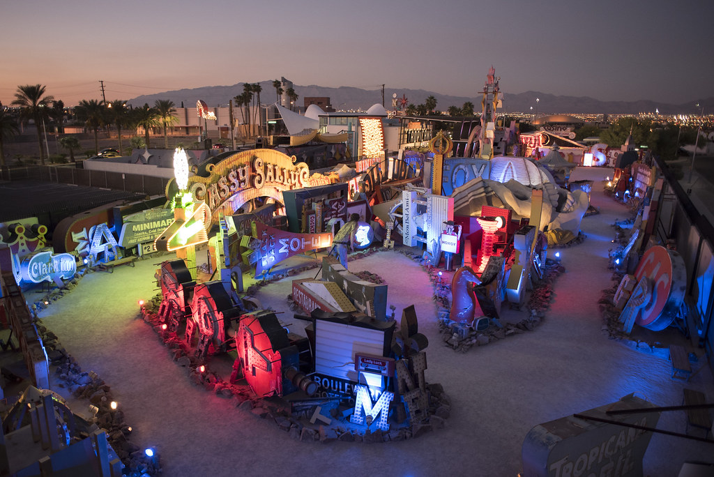 the neon museum in las vegas at sunset the neon museum is flickr. Black Bedroom Furniture Sets. Home Design Ideas