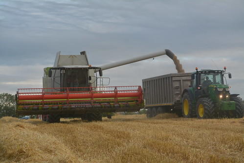 Claas Lexion 750 Combine Harvester unloading Winter Barley to a Beresford Trailer drawn by a John Deere 6175R Tractor