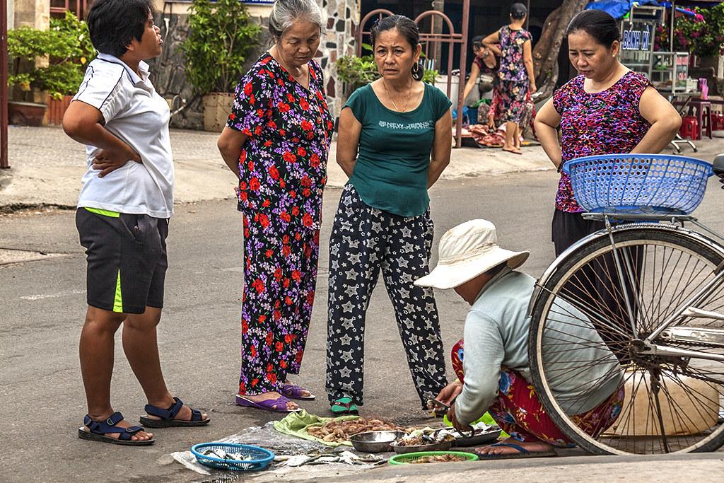 Women buying fish--Phan Thiet