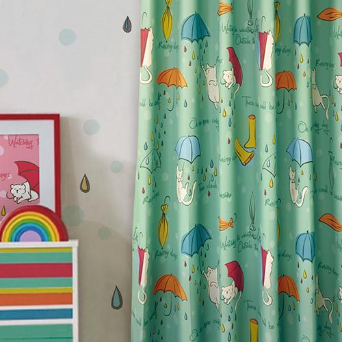 雨傘傘喵喵(獨家) 雨天貓咪 防光(遮光)窗簾布 DA1990033