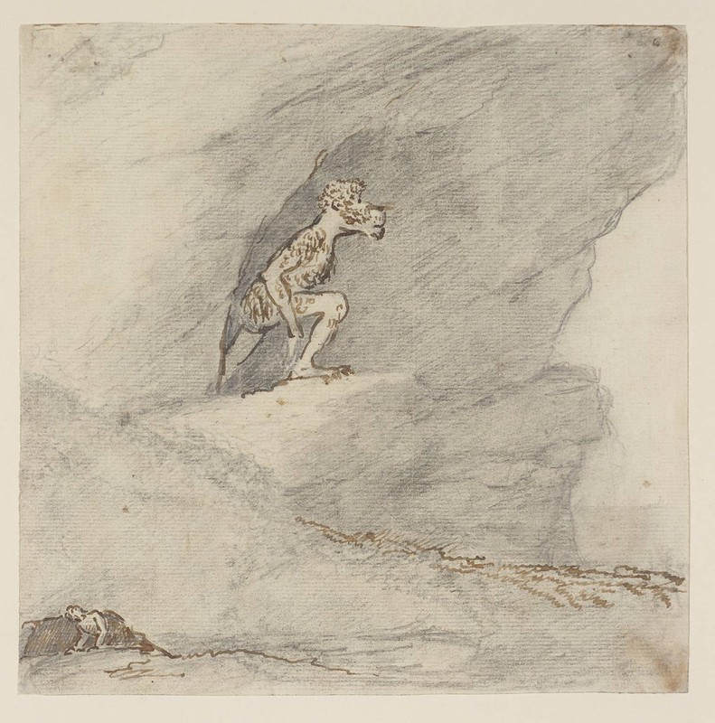 Sir Nathaniel Dance-Holland - Dog-Headed Monster in a Cave