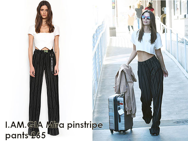 I.AM.GIA-Mira-pinstripe-palazzo-pants, pinstripe palazzo pants. maroon cat-eye shades, gold pendant necklace, hoop earrings, stylish travel look, how to travel in style, I.AM.GIA Mira pinstripe pants -