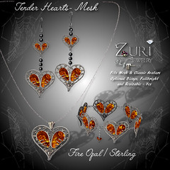 SALE - Tender Hearts Mesh - Fire OpalSterling