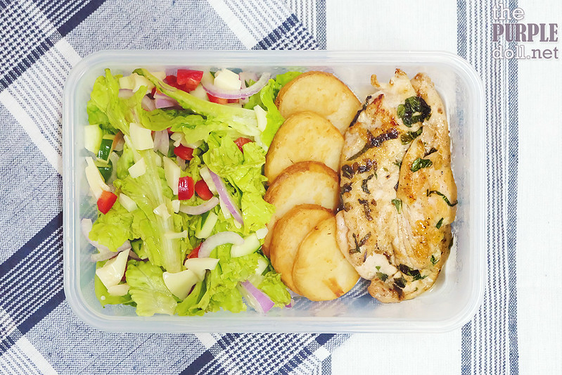 Basil chicken, potato crisp slices, Mediterranean salad