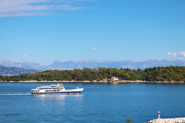 Boat sailing across island