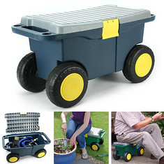 Removable Garden Tool Cart Seat 4 Wheels Plastic Tools Storage Container Scooter (1050023) #Banggood