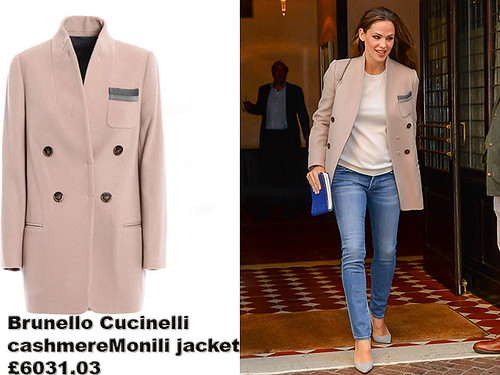 Brunello-Cucinelli-cashmere-Monili-jacket,-blue-jeans-white-tshirt,-pastel-blue-heels,-fashion-@-Alwand