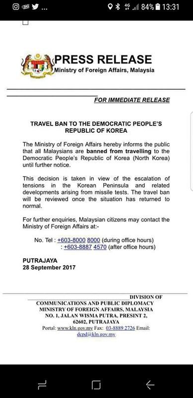 malaysia north korea travel ban
