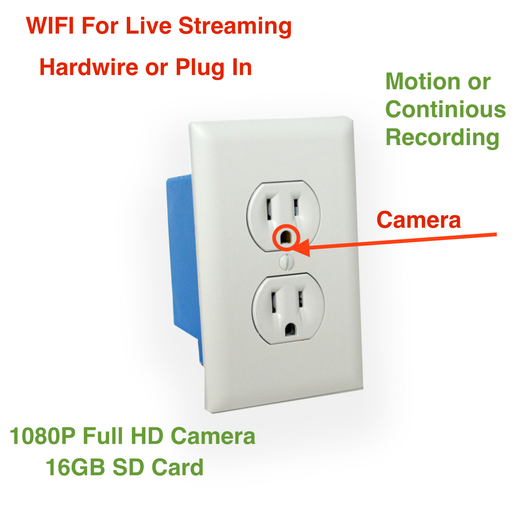 Wifi Wireless Ip Live Full Hd Hidden Ac Wall Plug Outlet