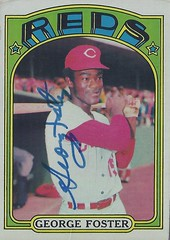 1972 Topps - George Foster #256 (Outfield) - Autographed Baseball Card (Cincinnati Reds)