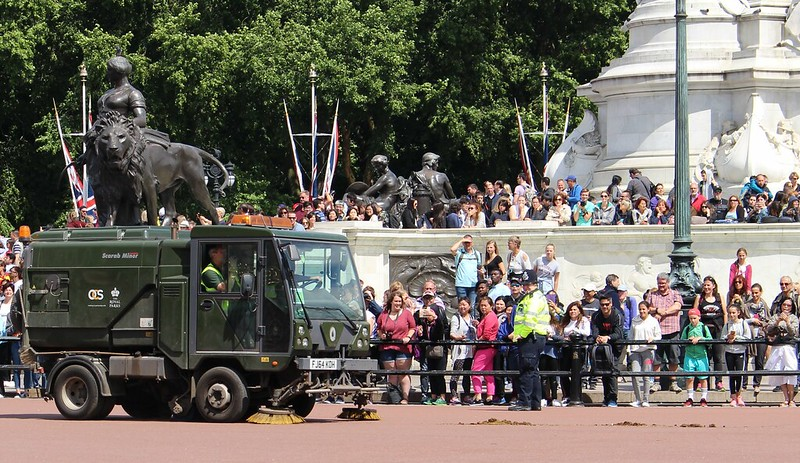 Cleaning up after the Changing Of The Guards, Buckingham Palace, London