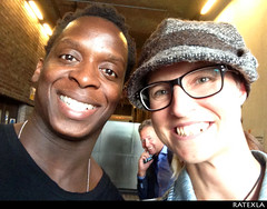 20150815_i6 Kobna Holdbrook-Smith & I by the stage door of Barbican Theatre, where he played Laertes in ''Hamlet''   London, England