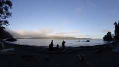 Camping on the beach with a view to the USA, Vancouver Island, BC, Canada