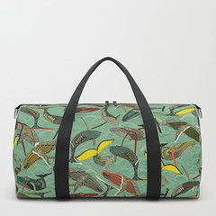 whales and waves jade society6 duffle bag