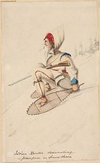Nations hunter descending a precipice on snowshoes / Chasseur des Premières Nations descendant un précipice en raquettes