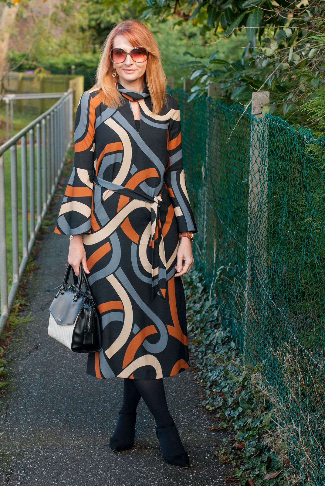 Elegant 70s style patterned midi dress in autumnal colours - bell sleeves, tie waist (Hobbs AW17)   Not Dressed As Lamb, over 40 style