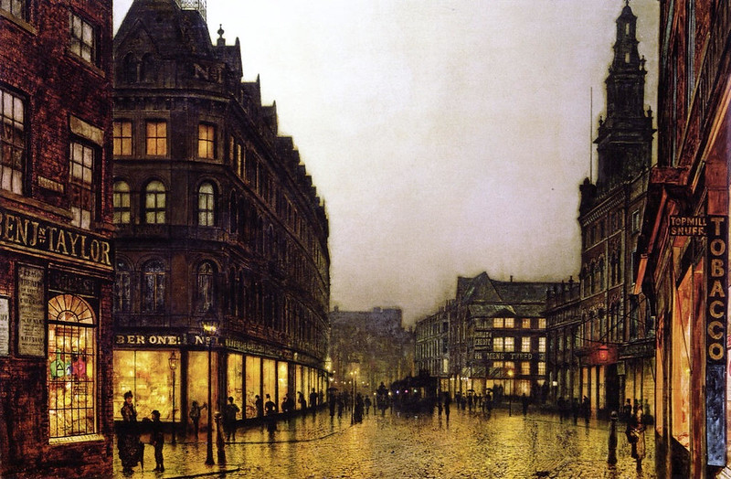 Boar Lane, Leeds by Lamplight by John Atkinson Grimshaw, 1881