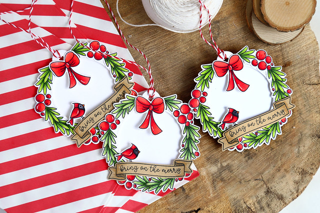 wreath tags with Avery Elle
