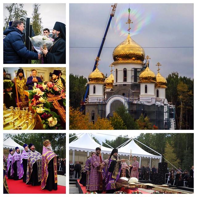 Поднят крест на главный купол храма
